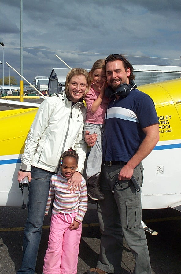 Josh Olson and his Famly.  Langley Flying School.