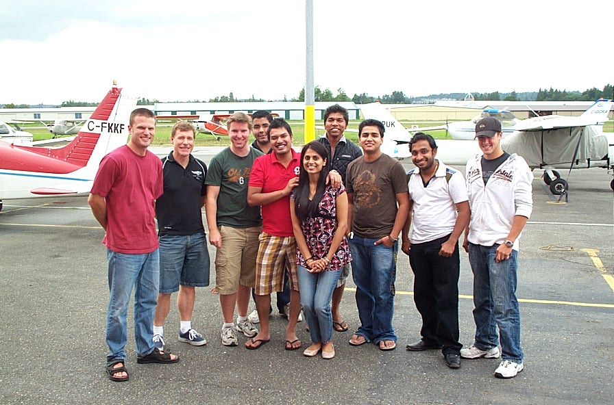 From Left, Sheldon Pohl, Peter Waddington, Phil Craig, Instructor Student Bharat Dhingra, Commercial Pilot Graduate Vikas Choudhary, Commercial Pilot Graduate Sukhmani Brar, Private Pilot Student Vinit Shinde, Commercial Pilot Student Monoj Shelke, Commercial Pilot Student Aniket Chavan, and Private Pilot Student Brooklyn Anderson.  Langley Flying School.