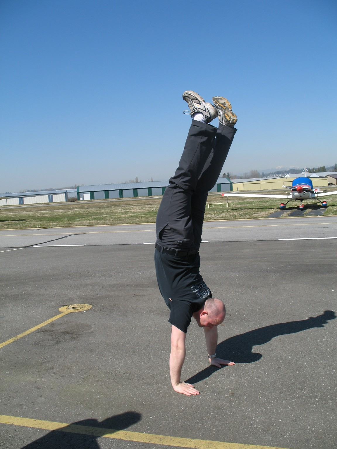 Rod Giesbrecht's handstand.  Langley Flying School.