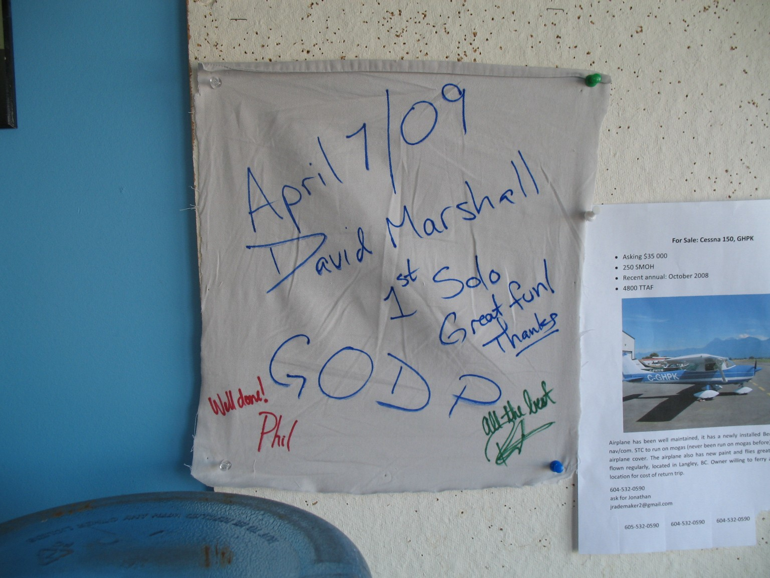 David Marshall's Solo Tag.  Langley Flyiing School.