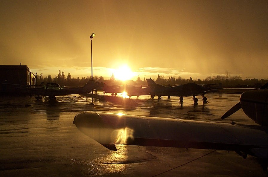 Sunset on the Langley Flying School Ramp after a spring shower.