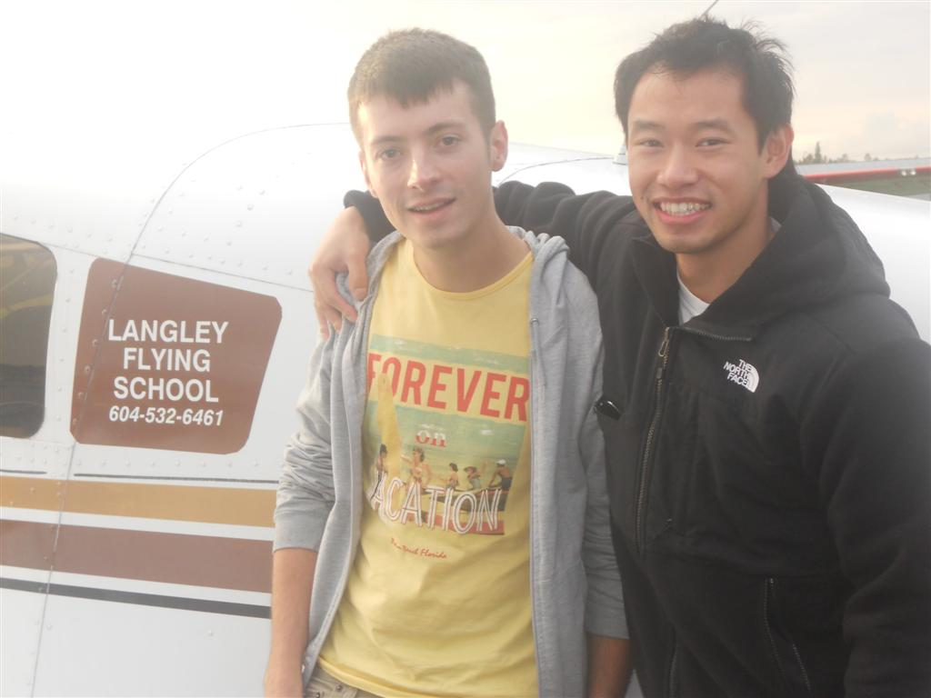 Florian James with Flight Instructor Nam Vu. Langley Flying Instructor.  Langley Flyiing School.