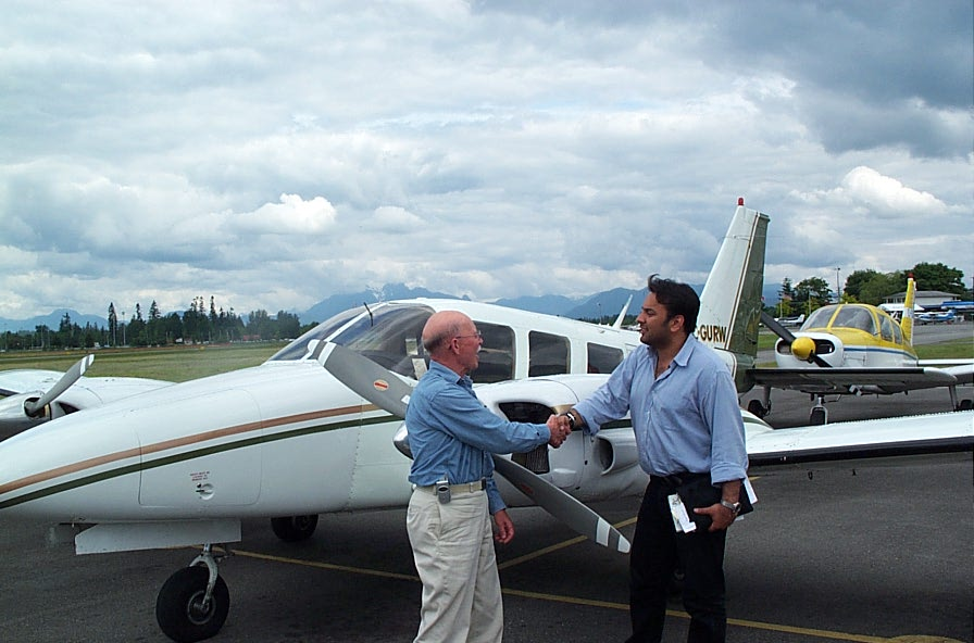 Abhitab Dhillon with Donn Richardson after the successful completion of his Multi-engine Class Rating Flight Test on June 3, 2006. Langley Flying School.
