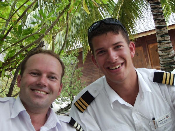 David Woollam and Ryan van Haren in the Maldives.  Langley Flying School